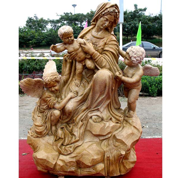Catholic madonna and child angel outdoor beautiful virgin mary garden statues for church decoration TCH-78