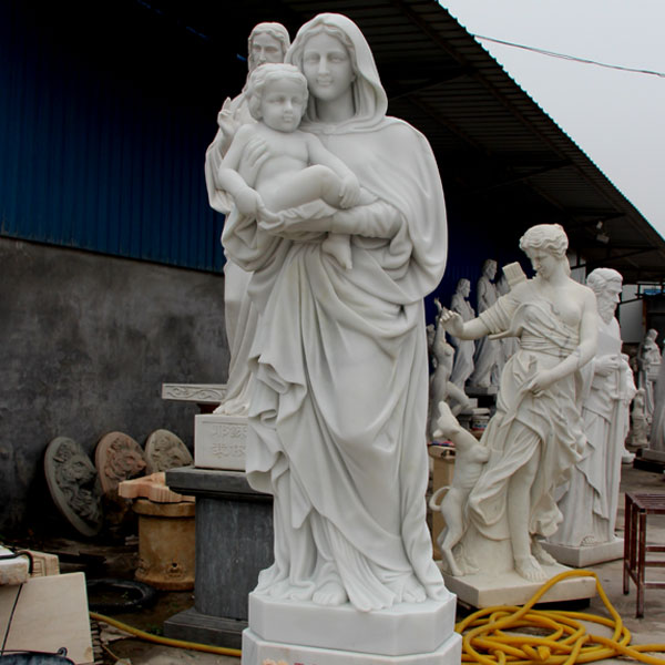 Religious beautiful virgin mary garden statues of white Madonna and Christ statues for sale TCH-81