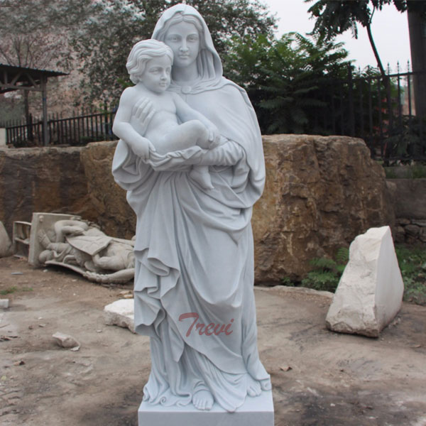 White marble Madonna with child beautigul virgin mary garden statues for outdoor church TCH-80