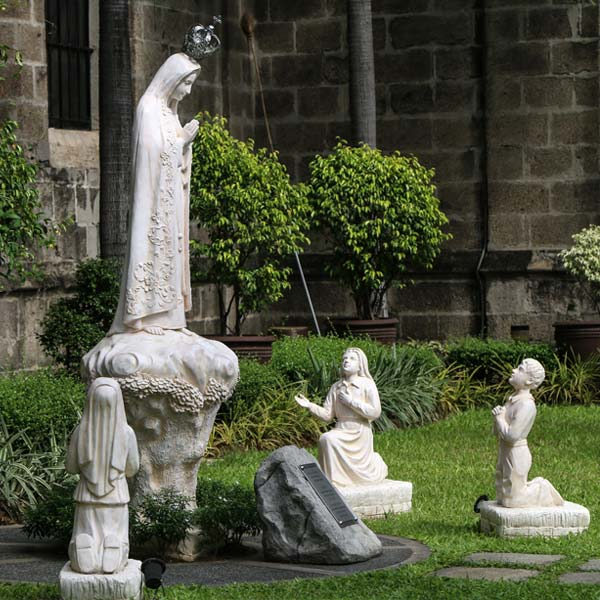 Outdoor blessed lady of fatima and three shepherd children religious garden statues online sale TCH-65
