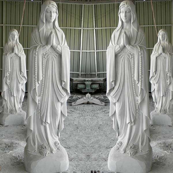 Catholic beautiful virgin mary blessed mother our lady of lourdes garden statue france TCH-92
