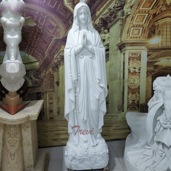 Catholic church blessed mary lady lourdes rosary beads beautiful virgin mary statues outdoor TCH-96