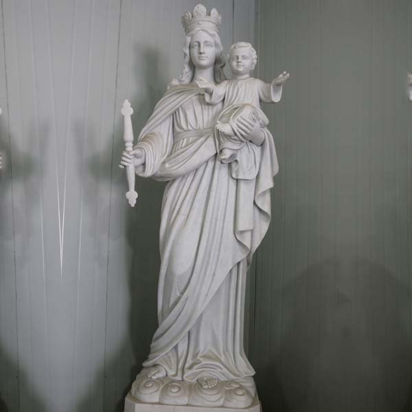 Catholic white marble our lady of mount carmel garden statue for sale TCH-86
