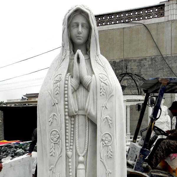 Virgen de fatima pilgrim statue with rosary beads religious garden sculptures to buy TCH-67