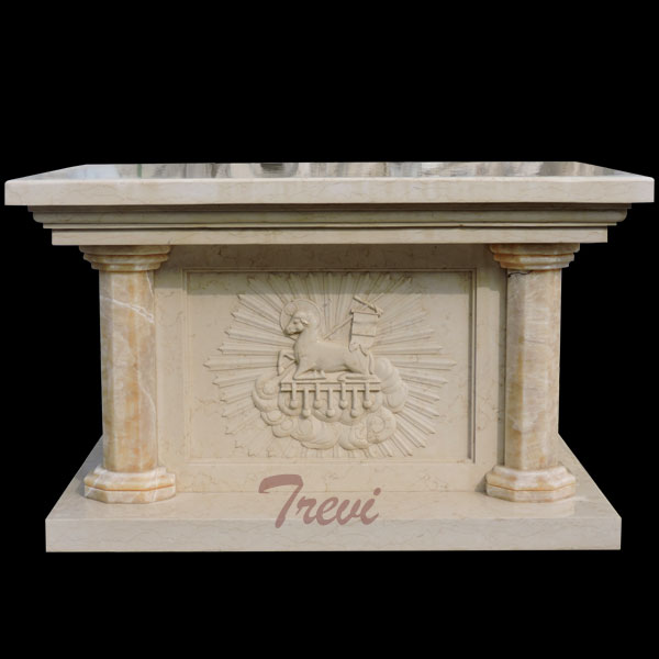 An beige marble stone altar table for church furniture using TCH-213