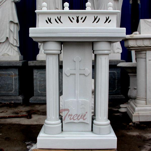 Catholic church furniture custom white marble pulpits podium manufacturers TCH-211