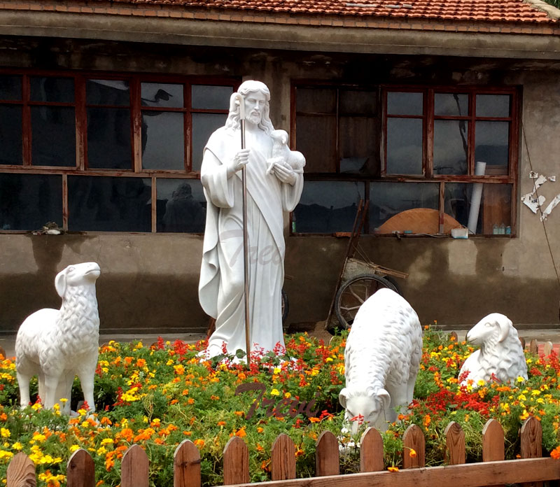 Catholic religious garden statue of good shepherd Jesus for sale