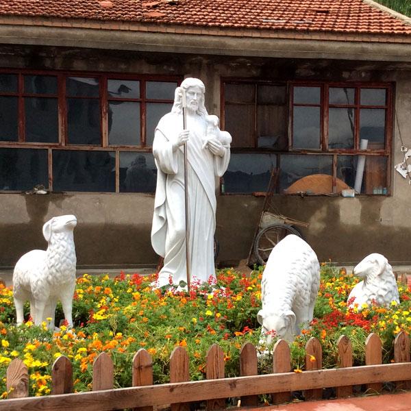 Catholic religious garden statues of good shepherd Jesus for sale TCH-17