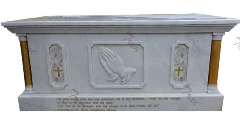 Custom white marble altar table catholic church furniture to buy