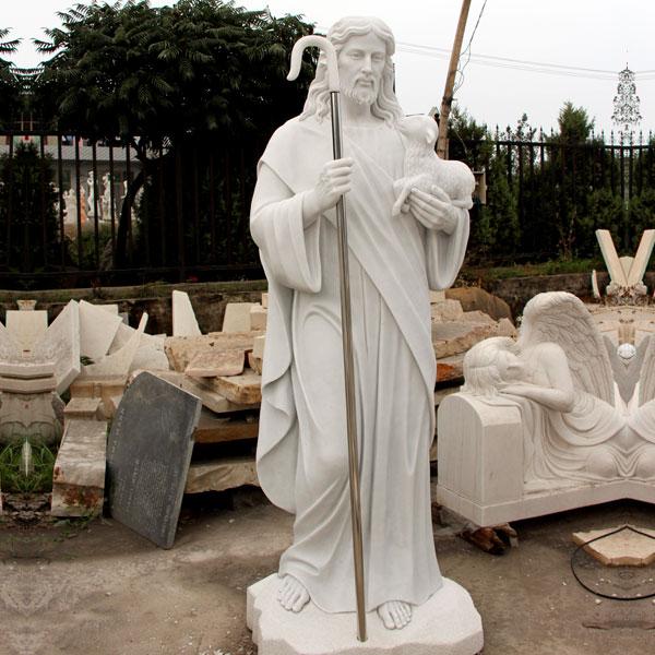 Good shepherd Jesus hold lamb catholic church garden statues for sale TCH-16