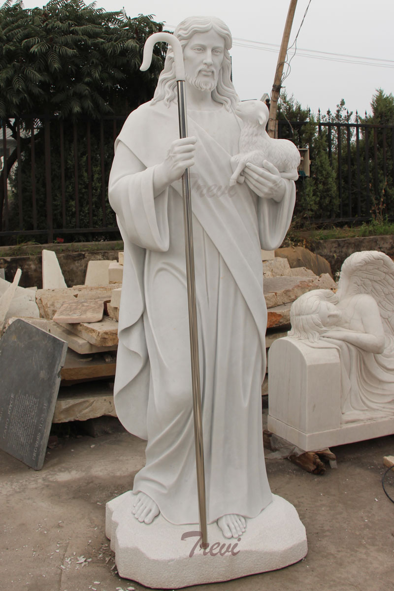 Good shepherd Jesus hold the lamb catholic church garden statues for sale