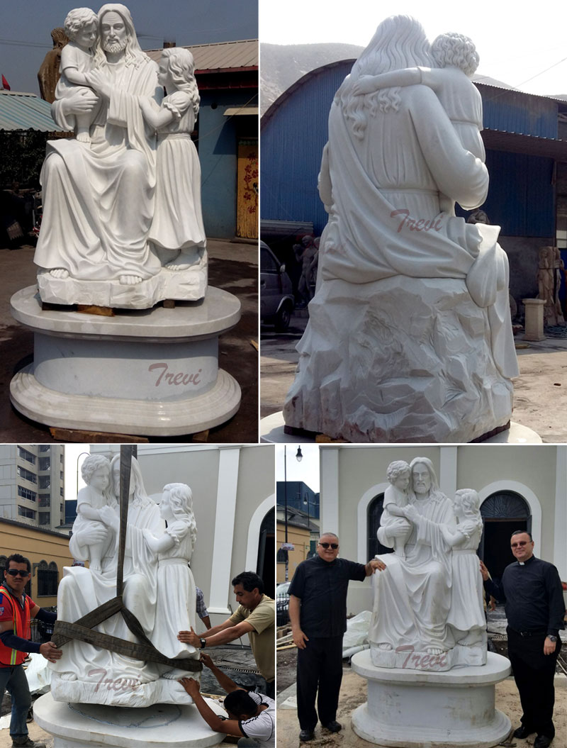 Jesus christ and children white marble outdoor catholic religious garden statues online sale