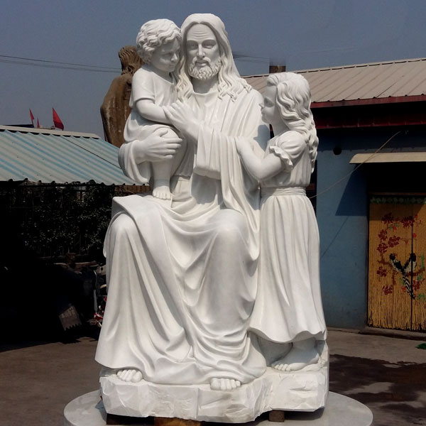 Jesus christ and children white marble outdoor religious garden statues online sale TCH-12