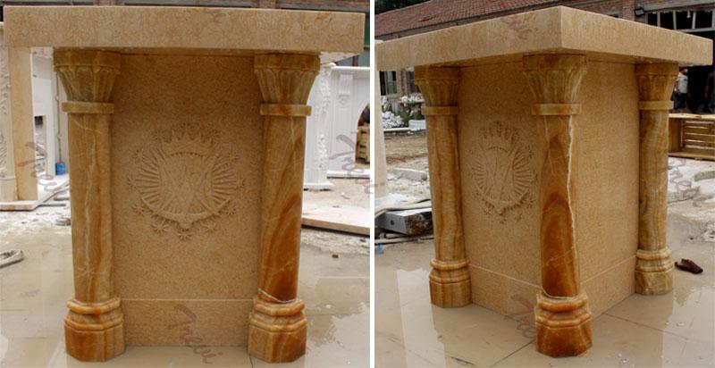 Modern beige marble custom catholic church pulpits furniture online sale