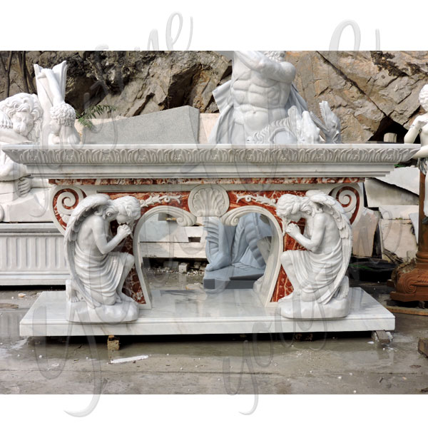 Modern church altar table with kneeling angels luxury designs for sale TCH-221