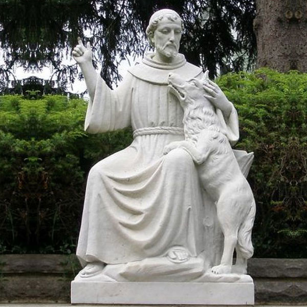 St. francis of assisi white marble garden statue with dog Catholic saints for sale TCH-204